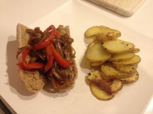 "Cheese ""Steak"" Sandwiches with Homemade Fries"