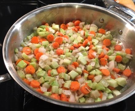 sauteing veggies in peanut oil