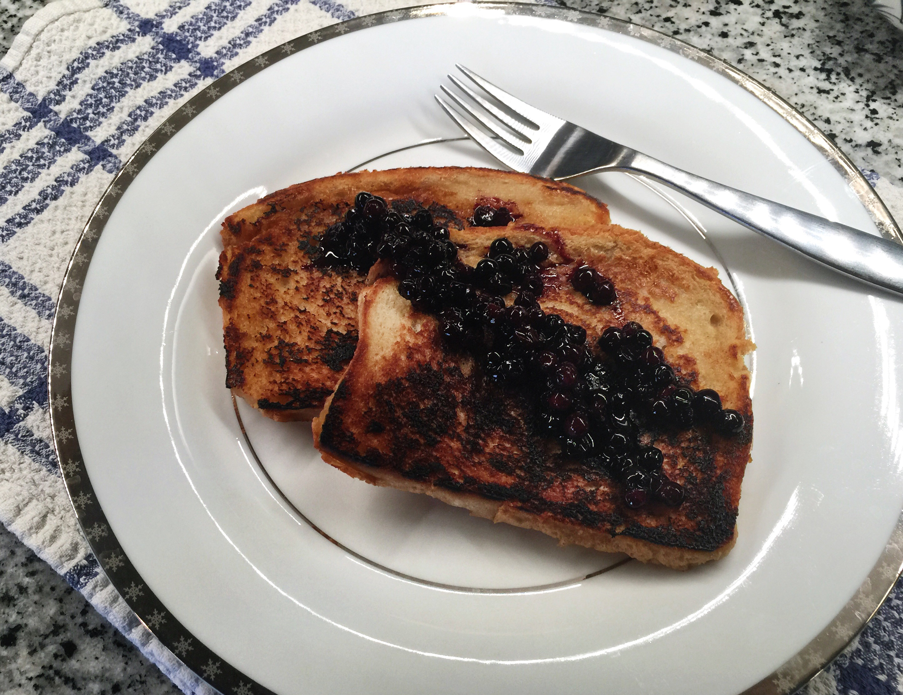 Vegan French Toast Topped with Blueberries